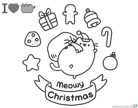 pusheen coloring pages meomy christmas  printable