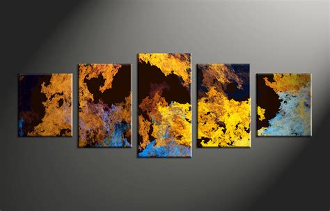 Home Decor Paintings 3 Panel Classic Paris Oil Painting On: 5 Piece Canvas Yellow Abstract Multi Panel Art
