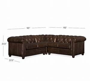 Chesterfield leather 3 piece l shaped sectional pottery barn for Pottery barn chesterfield sofa sectional