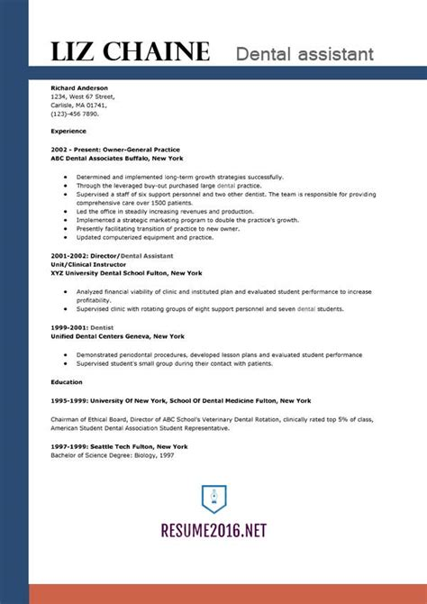 dental assistant resume template 2016 get the