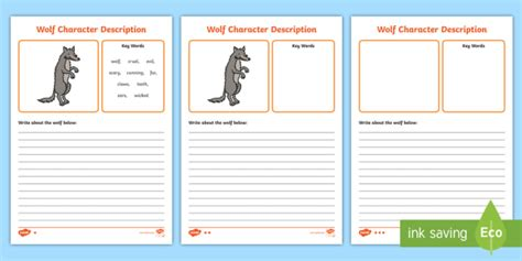 wolf character description differentiated writing frames