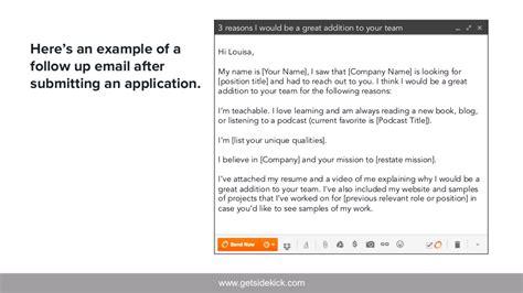 follow up letter after application www getsidekick here s an exle of 21748