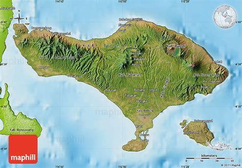 satellite map  bali physical