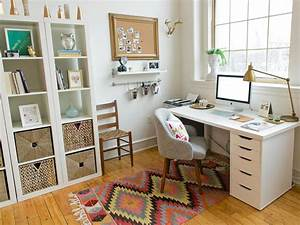 Tidy shelves keep your workspace uncluttered and your for Home office pics