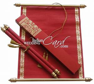 s862 red color shimmery finish paper scroll invitations With wedding invitations scroll design uk