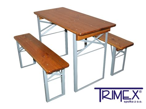 Tectake Folding Portable Table And 2 Benches Camping Set