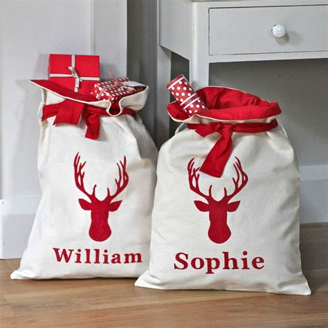 personalised lined christmas sacks by chapel cards