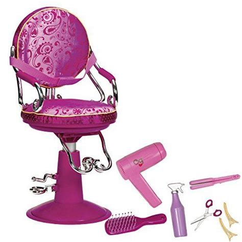 American Salon Chair And Wrap Set by Our Generation Doll House Hair Salon Chair American