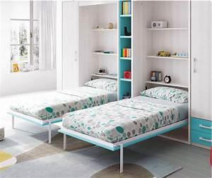 Lit Avec Armoire : lit escamotable armoire avec 2 couchages glicerio so nuit ~ Teatrodelosmanantiales.com Idées de Décoration