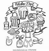 Lederhosen Oktoberfest Vector Pretzel Coloring Beer Pages Carousel Schnapps Bavarian Drindl Costumes Themed Bratwurst Monochrome Sausage Drawn Sketches Illustration Hand sketch template