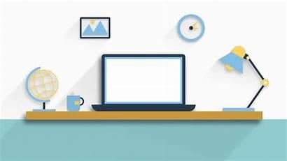 Animated Office Flat Interior Workplace Cartoon Clip