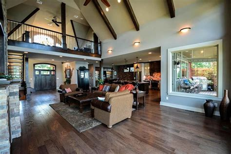rustic mountain house floor plan  walkout basement craftsman lofts  house