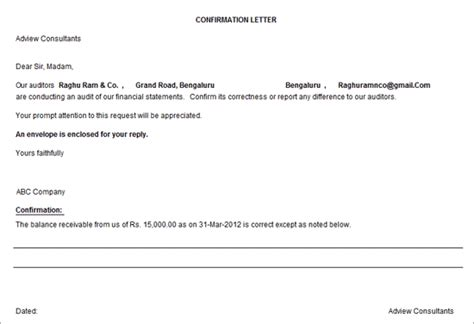 audit confirmation letter infoupdateorg
