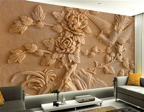 room wallpaper landscape peony relief  wallpaper