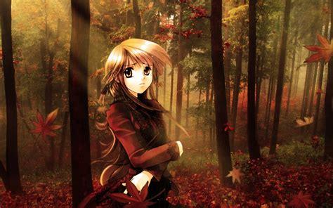 fondo de pantalla chica anime junto  la naturaleza