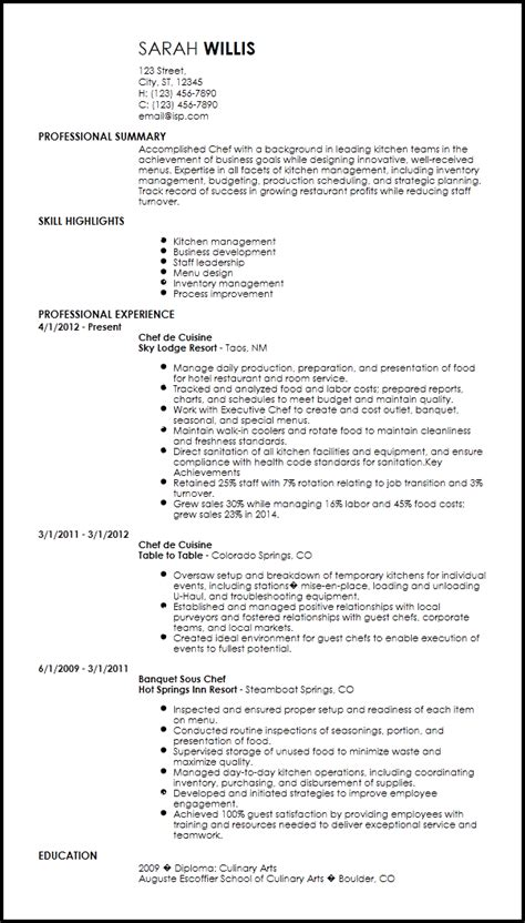 Chef Resume Sle by Free Creative Chef Resume Templates Resume Now