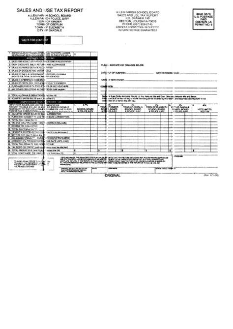 sales and use tax report form allen parish school board