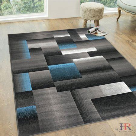 Abstract Black Rug by Handcraft Rugs Blue Grey Silver Black Abstract