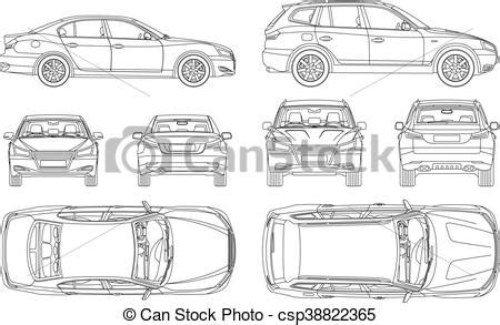 car sedan  suv  draw   view top side