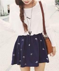 Skirt: blue skirt, skater skirt, birds, white t-shirt, bag ...