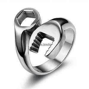 fashion cool biker mechanic wrench stainless steel mens With mens wrench wedding ring