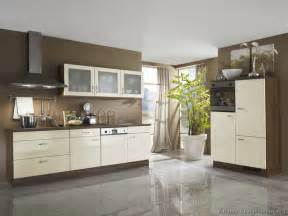 Brown Two Tone Kitchens with White Cabinets
