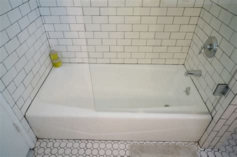 Tile Tub Surround by New Half Glass Shower Door Diana Elizabeth