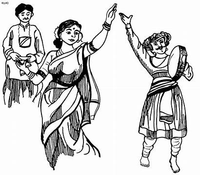 Dance Clipart Lavani Dancing Maharashtra Classical Coloring