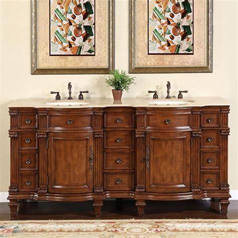 large double sink vanity cabinet  travertine