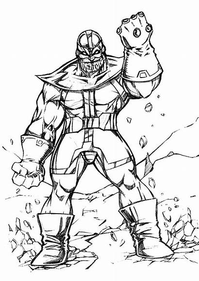 Thanos Coloring Pages Printable Sketch Marvel Children