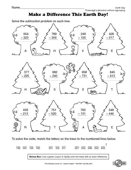 earth day worksheet three digit addition without