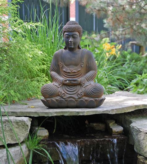 buddha garden statue statues meditation meditating japanese zen gardens mindfulness ornaments cour bassin exterieur bouddha bighappybuddha painting