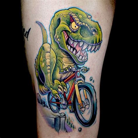 Elimination Tattoo New School Dinosaurs Caricatures