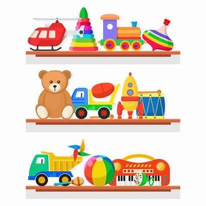 Shelf Toy Toys Clip Shelves Vector Illustrations