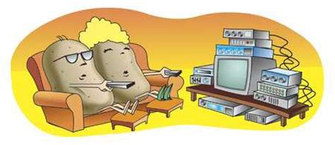 Stock Illustration  Couch Potatoes Watching Tv