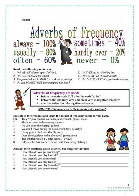 frequency adverbs worksheet  esl printable