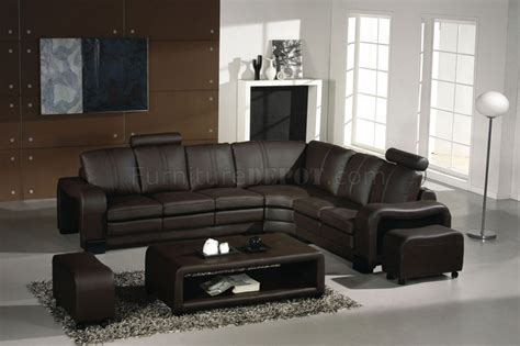 canape cuir et bois 3330 espresso leather modern sectional sofa w coffee table