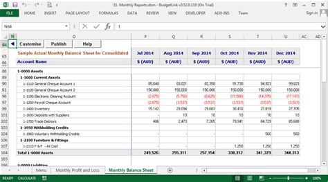monthly budgeting  reporting accounting addons