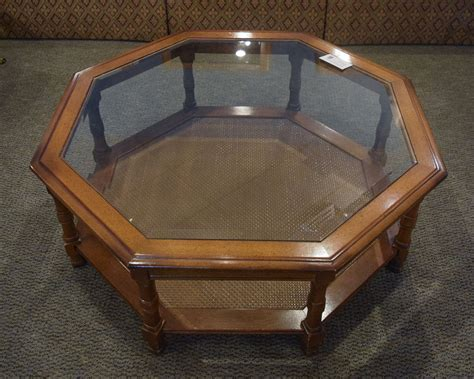 Octagon Glass Top Coffee Table   New England Home
