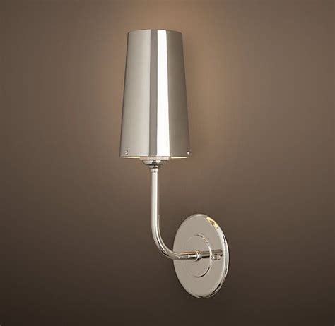 modern taper sconce with metal shade restoration hardware
