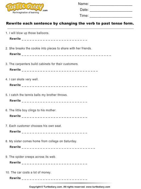 change verbs   tense form worksheet turtle diary