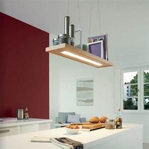 Suspension Luminaire Cuisine : luminaire suspension cuisine led lampe tondela l80 cm bois ~ Teatrodelosmanantiales.com Idées de Décoration