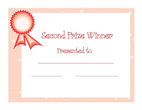 1st Place Certificate Template Free by Certificate Templates 2nd Prize Winner Certificate