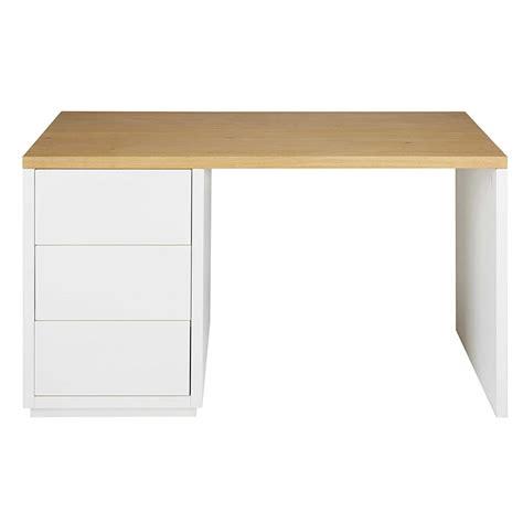 bureau bois massif blanc bureau en chêne massif blanc l 140cm austral maisons du
