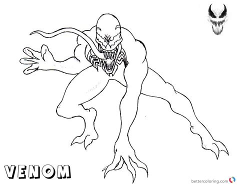 venom coloring pages simple lineart  printable
