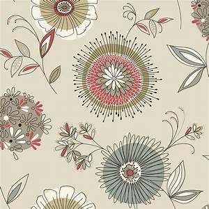 Beacon House Maisie Grey Floral Burst Wallpaper