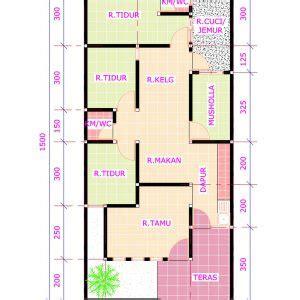 Gambar Denah Rumah 6x12 2 Lantai Model 2018 3 Kamar