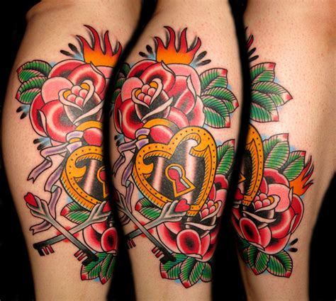 rose heart lock tattoo designs tattooshuntcom