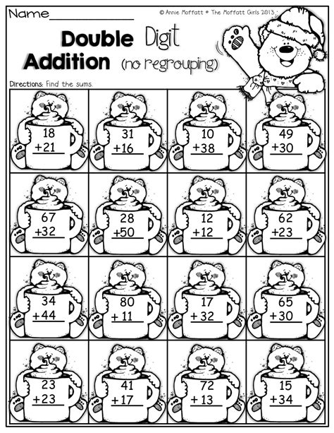 digit addition with no regrouping 1st grade