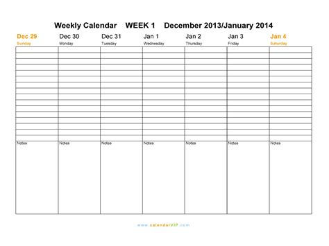 weekly calendar   weekly calendar templates